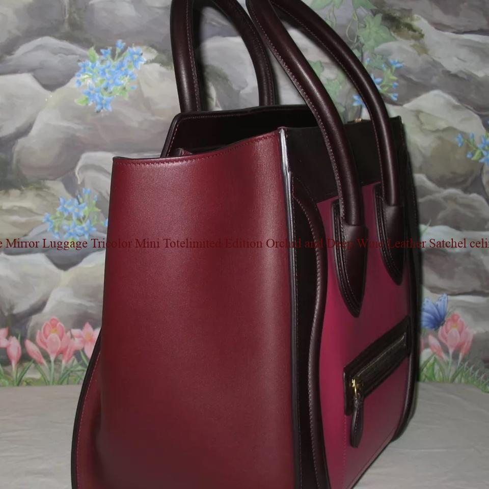 a3f989b200df AAA Céline Mirror Luggage Tricolor Mini Totelimited Edition Orchid and Deep  Wine Leather Satchel celine nano bag